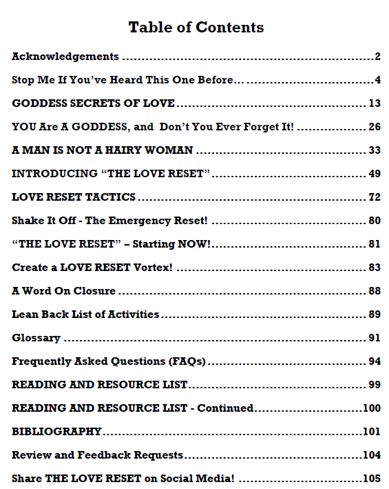 Love Reset Table of Contents